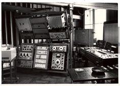 The interior of the Polish Radio Experimental Studio; in the background visible the vertical panels by Oskar Hansen