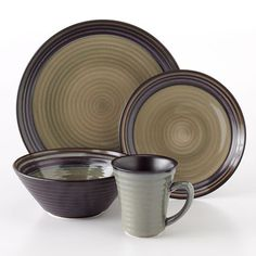 Sango Tropica Black 16-pc. Dinnerware Set  sc 1 st  Pinterest & Sango Elements Brown 16-pc. Dinnerware Set | Products | Pinterest ...