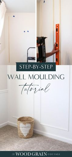 This DIY wall moulding project is a quick and affordable way to add character to any room. Transform your bare walls in a single afternoon with these easy to follow, step-by-step instructions! #diy #moulding #wallmoulding
