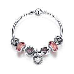 Nuova offerta in #gioielleria : Wowl Sterling Silver braccialetti di fascino con perle di vetro e cavo pendente cuore per adolescenti ragazze regalo di compleanno a soli 15.99 EUR. Affrettati! hai tempo solo fino a 2016-09-06 19:40:00
