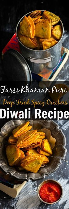 Farsi Khaman Puri / Poori – Deep Fried Spicy Crackers – Famous Last Words Indian Appetizers, Indian Snacks, Indian Food Recipes, Appetizer Recipes, Vegetarian Recipes, Snack Recipes, Cooking Recipes, Indian Sweets, Cooking Tips