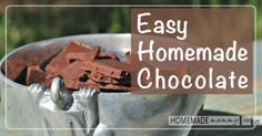 I love my easy homemade chocolate recipe but wanted to switch things up a bit. I have many folks tell me they don't like the taste of coconut or they are Clean Recipes, Sweet Recipes, Real Food Recipes, Cooking Recipes, Paleo Dessert, Gluten Free Desserts, Easy Homemade Chocolates Recipe, Homemade Sunscreen, Paleo Treats