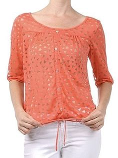 Coral Button Down Top with Drawstring - $24.00 : FashionCupcake, Designer Clothing, Accessories, and Gifts