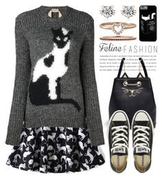 """Feline Fashion 2390"" by boxthoughts ❤ liked on Polyvore featuring Charlotte Olympia, N°21, Converse, EF Collection, BillyTheTree and catstyle"