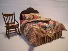 Miniature bed and chair in 1/12 scale.