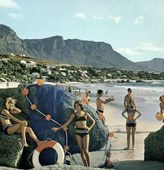 Miss Moss · Vintage Summer Snapshots Clifton Beach, Beach Illustration, Cape Town South Africa, African History, Back In The Day, Travel Planner, Live, Old Photos, Vintage