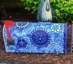 Blue mosaic mailbox