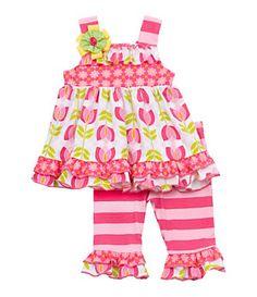Rare Editions Newborn Mixed-Media Dress & Leggings Set | Dillard's Mobile