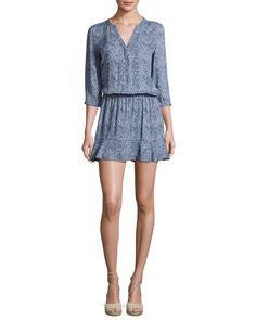 Curi Printed 3/4-Sleeve Blouson Mini Dress, Blue
