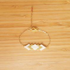Bracelet Gaia Blanc & Plaqué Or et tissage en perles de verre Miyuki