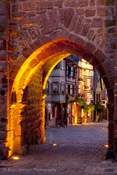 Medieval village of Riquewihr, along the Wine Route, Alsace Haut-Rhin France. © Brian Jannsen Photography