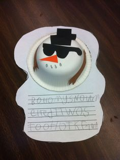 Why did my snowman melt? writing project