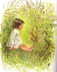 """The Grass House"", Shirley Hughes. My daughter used the poem that goes with this illustration in her school's speech festival. Shirley Hughes, Annie Rose, Childrens Artwork, Children's Book Illustration, Book Illustrations, Kids Story Books, Body Drawing, Beautiful Paintings, Painting Inspiration"