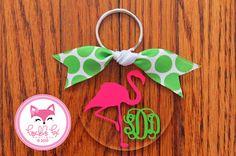 Flamingo Monogram Key Chain in Chevron Personalized Key Chain Custom Name Sorority Birthday Bride Wedding Shower Bridesmaid Key Chain on Etsy, $16.00