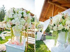 lavish wedding flowers. ceremony decor. floral in urn on pillar  blush wedding flowers. arrangement in urn. by Sophisticated Floral Designs  http://sophisticatedfloral.com/ resort at the mountain wedding flowers