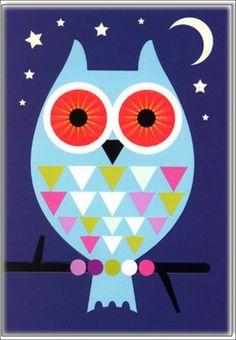 Greeting #card big #Owl by Kelly #Hyatt from www.kidsdinge.com  https://www.facebook.com/pages/kidsdingecom-Origineel-speelgoed-hebbedingen-voor-hippe-kids/160122710686387?sk=wall