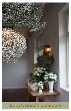 Baby's breath pom poms - christening
