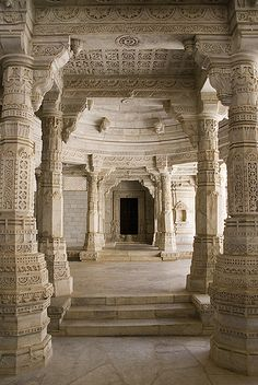 Pillared pathway in Ranakpur, Rajasthan, India
