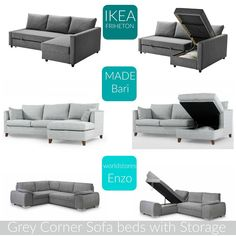 Home: The Best Grey Corner Sofa Beds with Storage