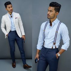 Here to teach you everything you need to know about menswear and how to be a gentleman. Teaching Mens Fashion, Suspenders Fashion, Mens Sport Coat, Stylish Mens Outfits, Tailored Jacket, Dapper Men, Blazers For Men, Wardrobes, My Outfit