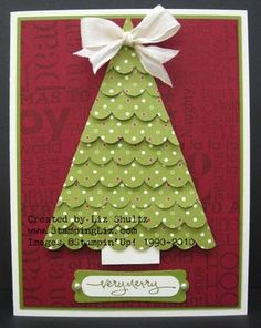 Christmas Tree Card with the scallop border punch