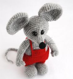 amigurumi valentine mouse a stuffed crocheted animal by crochAndi, $32.00