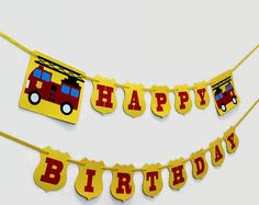 Firetruck Birthday Banner by IKnowAGuyDesigns on Etsy