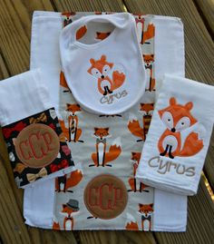 Baby Boy Monogrammed and Appliquéd Burp Cloths by BabyBugzBoutique