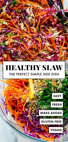 This healthy slaw recipe tastes amazing! It's made with a fresh and simple lemon dressing (no mayo or vinegar) and features toasted sunflower and pumpkin seeds. Gluten free and vegan. gluten free recipe Simple Healthy Coleslaw Recipe - Cookie and Kate Healthy Coleslaw Recipes, Vegan Coleslaw, Salad Recipes, Healthy Snacks, Healthy Eating, Simple Healthy Recipes, Dinner Healthy, Coleslaw Recipe No Mayo Vinegar, Gluten Free Coleslaw Recipe