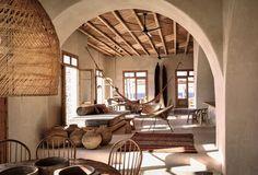 De etnische inrichting en wabi sabi || Scorpios Hotel op het eiland Mykonos grcque