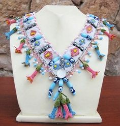 "Authentic Anatolian Needle Lace Pure Silk ""Hidirellez"" Necklace"