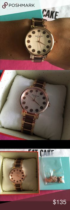 Kate Spade Watch EEUC Kate Spade rose gold and brown watch. Purchased January 2016. Worn 1x after having links taken out at jewelers (pictured and included). Minor scratch on back link near face. Sticker still intact on back of face. Excellent condition. Working battery. 34mm face. kate spade Accessories Watches