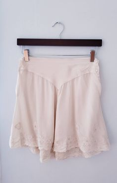1920s Embroidered Underpants Knickers Tap Pants / 20s High Waisted Cream Silk Lace Embroidered Underwear Shorts Panties / S / Fantine by RareJuleVintage on Etsy