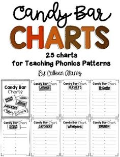 This resource is a fantastic tool for introducing spelling patterns to young readers. The candy bar charts included in this resource will help your students connect sounds and patterns to candy bars that contain the same patterns. A few of the charts included cover Phonics Chart, Spelling Patterns, Teaching Phonics, Candy Bars, Charts, Bar Chart, Connect, Students, Language