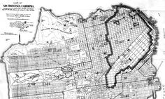 Map of the city of San Francisco showing streets, public parks, cemeteries, and the 1906 fire line.