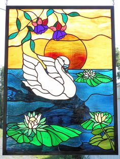 Stained Glass Sunset with Swan on a pond  Handcrafted in