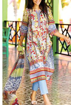 Buy Multicolor Cotton Lawn Dress by Zeen Spring/Summer Collection 2015.
