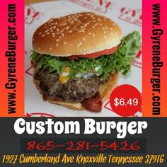 CUSTOM BURGER Two never-frozen 100% Angus beef patties with any toppings.  Choose from Texas-smoked bacon, American or Swiss Cheese, Crispy lettuce, Florida-grown tomato, rich and creamy mayo, Heinz Ketchup, mustard, sauteed mushrooms, sliced jalapenos on a fresh sesame bun toppings.... ************************************************* Order Online Now ➡️  www.GyreneBurger.com  #burger #knoxville #burgers #fortsanders #tennessee #cumberland#Gyrene #LocalKnoxvilleEvent…