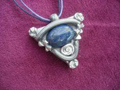 Lapis Lazuli pendant set in silver clay by LiloLilsEmporium