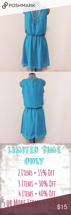 """🆕Listing: Speechless Bright Blue Dress Speechless Bright Blue Dress. In great condition. Juniors L measures: 9"""" across neck, 19"""" across chest, 14-18"""" at elastic waist, 23"""" across hips, 34"""" long. 100% polyester. It is fully lined and machine washable. Has loops at waist, belt not included. 311/100/032217 Speechless Dresses Mini"""