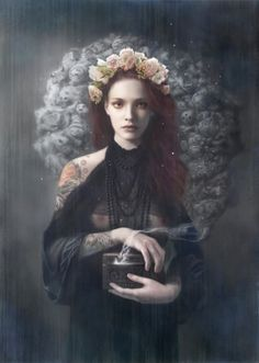 Pandora - Tom Bagshaw works as a commercial illustrator under the moniker Mostlywanted and is represented by The Central Illustration Agency. 3d Fantasy, Dark Fantasy, Tom Bagshaw, Pandoras Box, Gods And Goddesses, Greek Mythology, Vampires, Dark Art, Saatchi