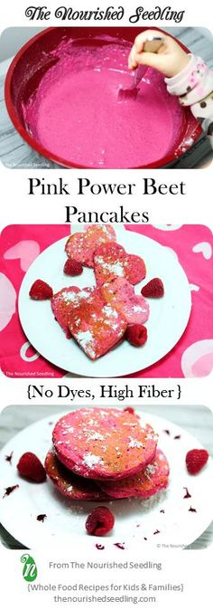 These pink pancakes claim their power from iron rich beets!  Oatmeal also adds to the iron power of these pancakes, making it a great vegetarian option as well.