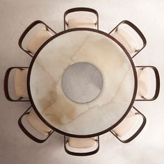 Joaquim Tenreiro, Round Dining Table and Curved Back Chairs, Jacaranda, under-painted glass, upholstered seats. R & Company. Furniture Dining Table, Round Dining Table, Furniture Plans, Kitchen Furniture, Table And Chairs, Furniture Design, Dining Rooms, Arm Chairs, Modern Furniture