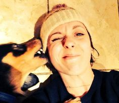 Amanda Abbington with one of her dogs. [love her]