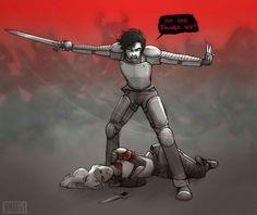 Nadie lo sabía. Miré a los ojos al semidiós enemigo. Usaba un parche en un ojo debajo del casco: Ethan Nakamura, el hijo de Nemesis. De alguna manera había sobrevivido a la explosión del Princesa Andrómeda. Lo golpeé en la cara con la empuñadura de mi espada tan fuerte que abolle su casco. -¡Atrás!- Blandí mi espada en un amplio arco, apartando al resto de los semidioses lejos de Annabeth. -¡Nadie la toca! -Interesante- dijo Cronos.