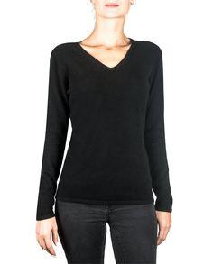 DamenKaschmir Pullover V-Ausschnitt schwarz front Elegant, Pulls, Sweatshirts, Tops, Sweaters, Gilets, Fashion, Black, Women