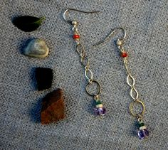14k Gold Filled Chain Earrings with Amethyst by RawLuxGems on Etsy, $36.00