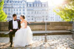 J.Crew real weddings/ Paris. Like the idea of featuring architecture in the background of the photo.