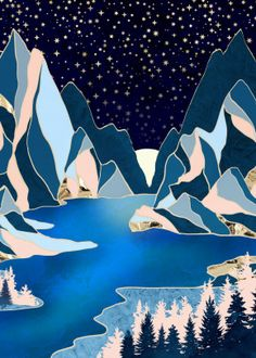 """Beautiful """"Star Peaks"""" metal poster created by SpaceFrog Designs. Our Displate metal prints will make your walls awesome. Landscape Tattoo, Watercolor Landscape, Abstract Landscape, Watercolor Paintings, Landscape Illustration, Art Paintings, Abstract Art, Background Drawing, Landscape Background"""