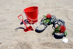 Kiwiana Christmas; Jandals with a Bucket & Spade Royalty Free Stock Photo